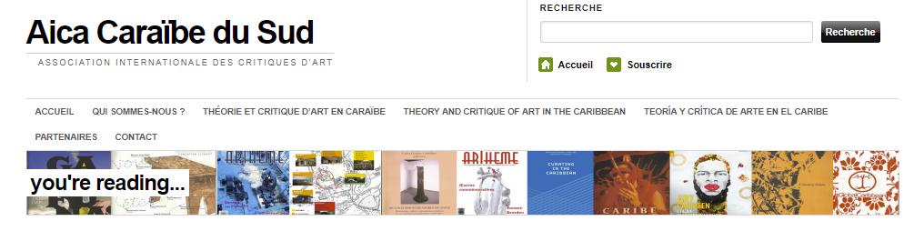Entête du site de l'AICA, Association Internationale des critiques d'art