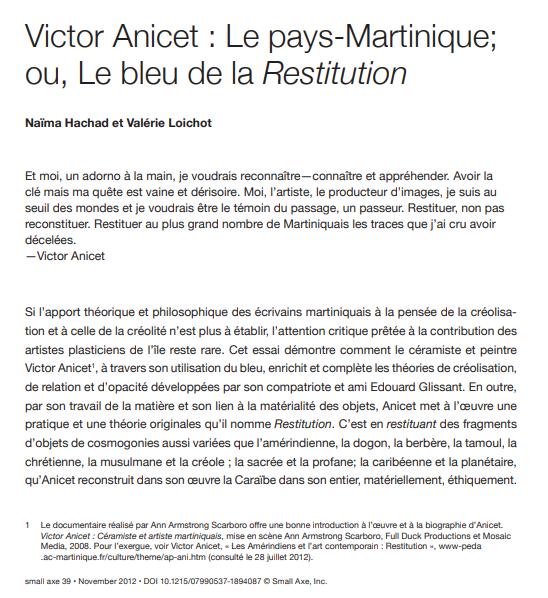 Début de l'article de Valérie Loichot et de Naïma Hachad sur le travail de Victor Anicet, artiste martiniquais